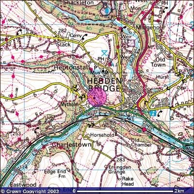 Hebden Bridge Map HebWeb   Maps Hebden Bridge Map
